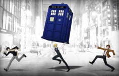 Anime: DuRaRaRa! (crossover: Doctor Who) Characters: Izaya Orihara, Shizuo Heiwajima, The Doctor