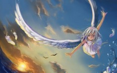 Anime girl with white wings