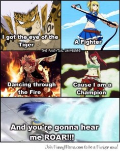 Anime/manga: Fairy Tail Characters: Elfman, Lucy, Natsu, Erza, and Wendy