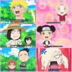Anime/manga: Naruto (Shippuden) Rock Lee and his Friends Characters: Naruto, sakura, Neji, Lee, Tenten, Choji, Shikamaru, and Ino, poor