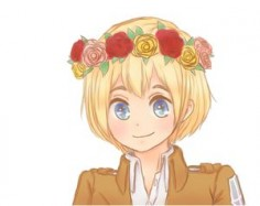 Armin ♥ CUTE! I have noticed a tendency for fan artists to draw these characters in flower crowns and such. Maybe because we want them to be happy? xD
