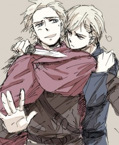 Arne (head-canon name for Denmark) and Sigurd (head-canon name for Norway) - Artist unknown
