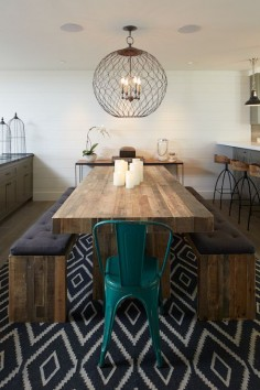 Artistic Designs for Living - dining rooms - Simpatico Orb Four Light Small Chandelier, Arteriors Henson Wood Iron Swivel Stool, West Elm