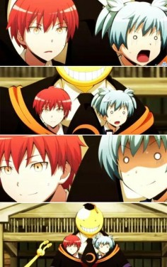assassination classroom I love this so much! Nagisa is panicking while Karma is just smiling