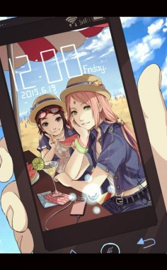 Awww Sasuke has a picture of the two most important people in his life saved to his phone!