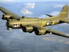 """B-17 Bomber, """"Memphis Belle"""", Tail #124485."""