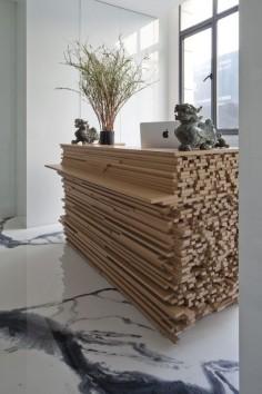 Bambo Recpt Desk, JW associates plants bamboo office interior in shanghai