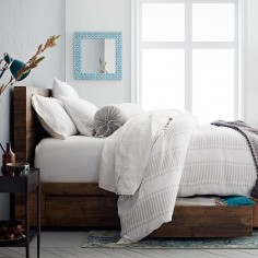 Belgian Flax Linen Ikat Stripe Duvet Cover, Full/Queen, Frost Gray