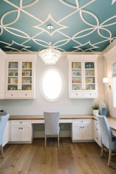 Benjamin Moore Baltic Sea CSP-680 with overlay pattern in Dove White. Beautiful.