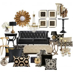 """Black and Gold Living Room"" by chloeg01 on Polyvore"