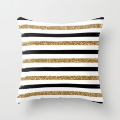 Black and Gold Throw Pillow by Monique Bellavia - $  will throw a punch of fun and drama onto the bed #sarahrichardson
