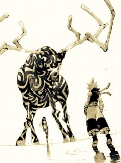 Black Star and Tsubaki, sometimes it is awkward meeting the family. Will of Nakatsukasa in the Uncanny Sword, taking on the form of a giant black and white deer.