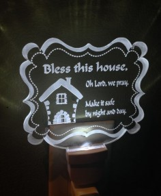 Bless this House LED Night Light #lednightlight #nightlight #prayernightlight #laserengraving #forsale #miami #blessthishouse