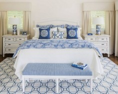 Blue and white bedroom. #Blueandwhitebedroom Kim E Courtney Interiors & Design Inc.