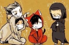 bokuto, akaashi, kuroo, tsukishima, costumes, children