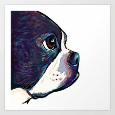 Boston Terrier Art Print by Cartoon Your Memories - $
