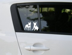 Boston Terrier car decal. $, via Etsy.