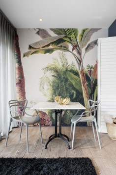 Boutique Hotel | Banana wallpaper | Gold | Kartell | Masters chair | Marble | Dining | Interior design | Etienne Hanekom Interiors