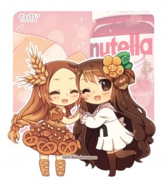 Bread and Nutella This one just looks like me and my best friend she's the nutella and i am the bread