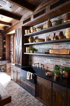 brick floors, walls, barn home