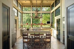 Bright, open kitchen with ceiling-height steel windows and exposed joists in this new home in Alabama. [1600 × 1065] : RoomPorn