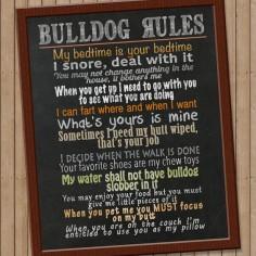 Bulldog Rules Digital Print, Bulldog Art, Digital File, DIY Print, Instant Download
