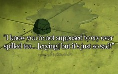 """""""But it's just so sad!"""" (I feel the same way about cold, unfinished cups of tea. sadness.)"""