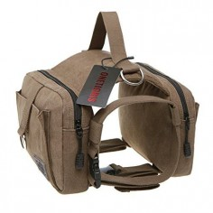 Camping and Hiking Canvas Harness, Ultimate Storage and Anti-Brush Snag, Organic Pet World Working Dog