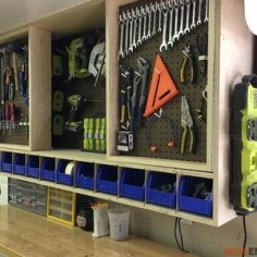 Check out this project on RYOBI Nation - Tool storage is a necessity in any shop. While storage is great, accessible storage is even better. That's why I designed this tool storage cabinet. I used pegboard to display the tools and allow for great accessibility. With doors, not only do you more than double your hanging space but you do so with a small footprint. Photos of the build can be seen below but if you intent to take on this project I recommend you download the printable PDF to have ....