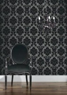 Classics Regency Damask Wallpaper - Black and Silver in Home, Furniture & DIY,DIY Materials,Wallpaper & Accessories | eBay