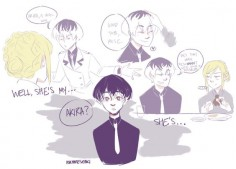 [Click through to see the rest!] Akira and Sasaki ||| Tokyo Ghoul: Re Fan Art by askhaisesasaki on Tumblr