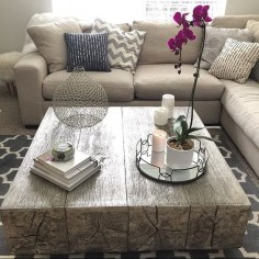 Coffee table envy: our Timber Coffee Table is cast from reclaimed oak beams and gets its silver luster from hand-applied silver leaf. Photo via @Mary Krolicki. Click to shop Timber.