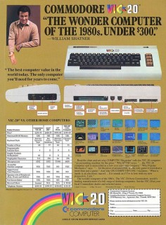 Commodore VIC-20 ad with Shatner! I'm pretty sure I remember filling out the little cut-out card on the bottom and sending it to Commodore.