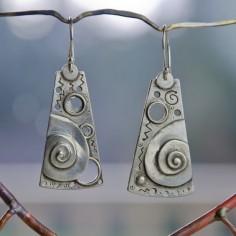 Cosmic Scroll drop Earrings sterling silver by BobsWhiskers, $