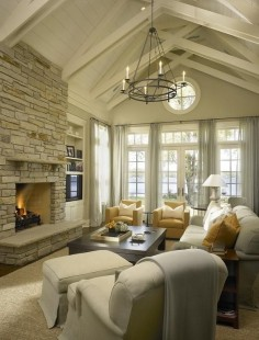 Cottage Living Room with Cathedral Ceiling