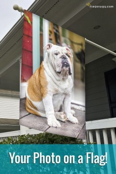 Create a flag for your dog featuring their photo! Design online in minutes. These custom flags are made of high quality fabric you will love, and printed in vibrant color. All flags are double sided and printed to order in North Carolina.