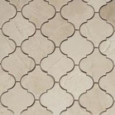 Crema Marfil Honed Arabesque Baroque Marble Lantern Mosaic