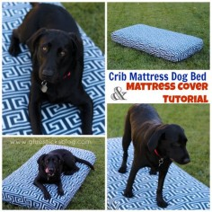 Crib Mattress Dog Bed: ! Make a cover for a toddler mattress/crib mattress and you have an instant dog bed. Waterproof and durable! Our lab (who likes to chew) has had his mattress for over a year and loves it!