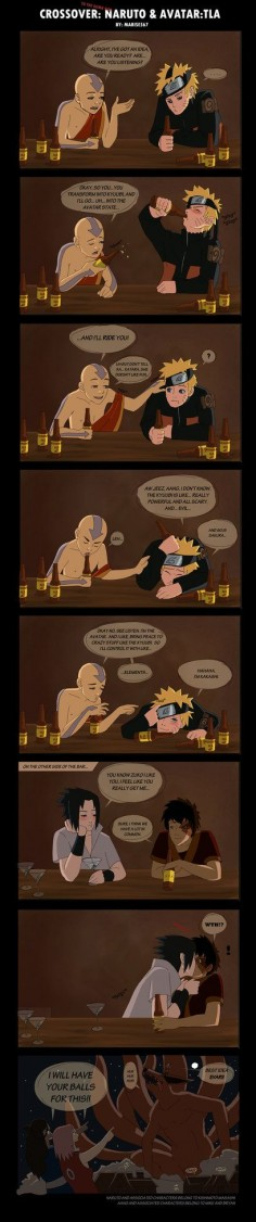 Crossover: Naruto and ATLA by ~Marise567 on deviantART Aang: I have an  Naruto: I don't  haha this made me laugh:o)
