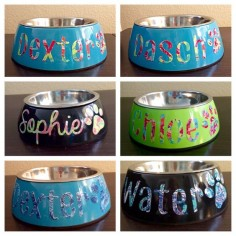 Custom Dog Bowl with Lilly Pulitzer Print Name by SealedWithAPaw