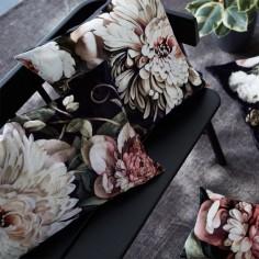 Dark Floral II Black Saturated on Velvet Cushions - by Ellie Cashman Design