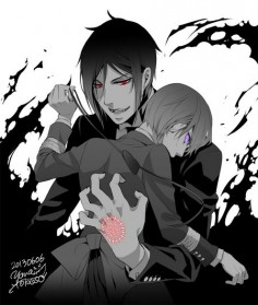 Demon Sebastian and Ciel | From Yana Toboso's blog.