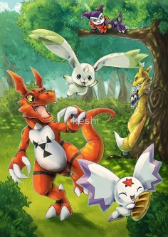 Digimon. renimon fox terriermon bunny geomon dinosour kalomon cuty puple and white flying thing and impmon human like digimon.
