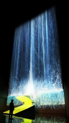 Digital Waterfall Projected On A Satellite Gives The Illusion Of Weightlessness | The Creators Project. Light art installation