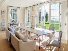 Dining Room in the Hamptons #dining room. Table is too flimsy, but the placement, light etc is fab.