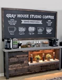DIY Coffee Shop Inspired Coffee Bar in Breakfast Nook