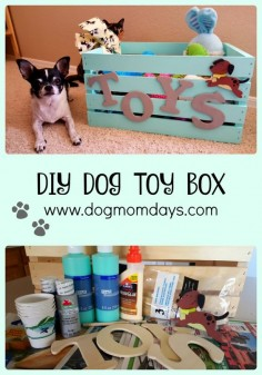 DIY dog toy box - make a super cute box for all of your dog's toys! #DIY #DIYdogprojects #dogcrafts