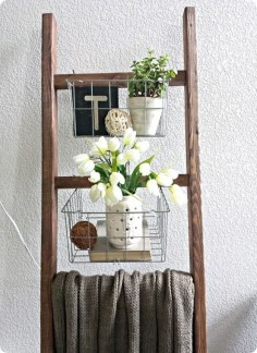 DIY Furrniture | Blanket Ladder with Wire Baskets ~ Make the whole thing for $20 - with the baskets!!!