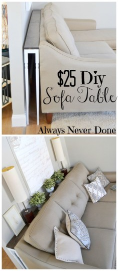 DIY Sofa Table for $25 using stair rails as  love this ides! Makes it easy to each plugs behind the couch too so they don't go to waste. Could make a charging station on it too.