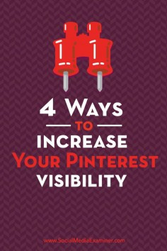 Do you want more visibility from your Pinterest marketing?  There are some quick and easy tactics you can use to help more of the right people find and share your content on Pinterest.  In this article you'll discover how to increase the visibility of your content on Pinterest. Via @Social Media Examiner